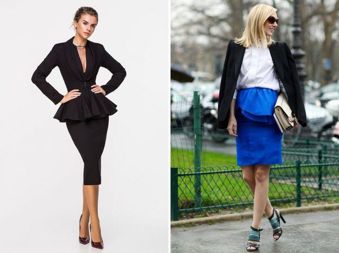 юбка с баской с пиджаком