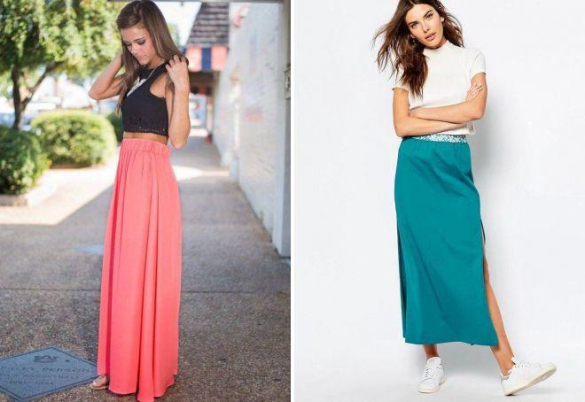 длинная легкая юбка
