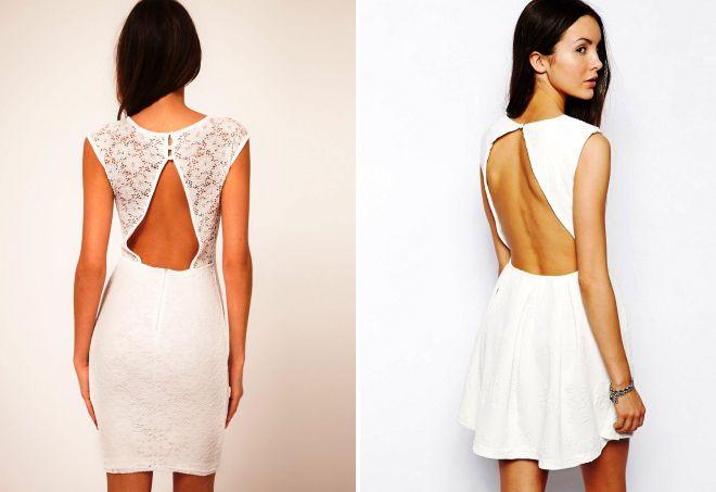 белое короткое платье с открытой спиной