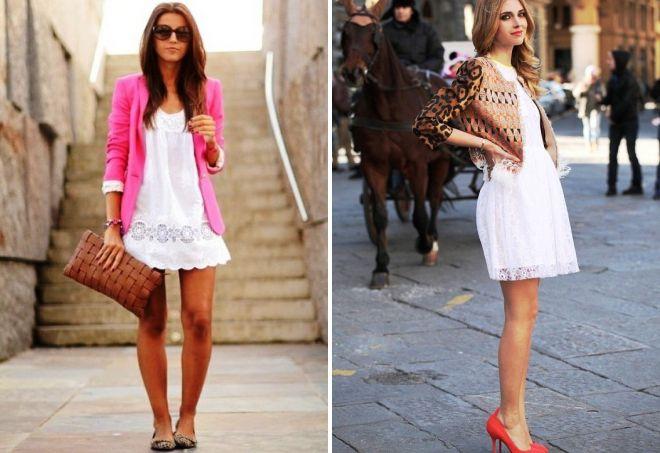 легкое короткое белое платье