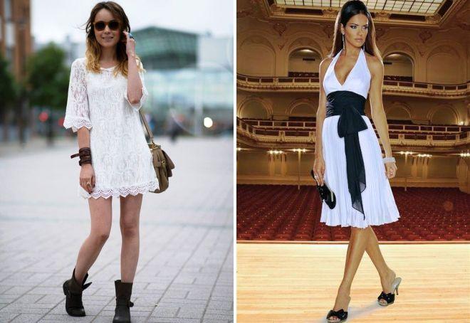 обувь под короткое белое платье