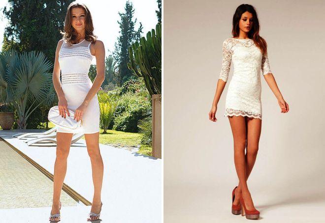 белое короткое платье в обтяжку