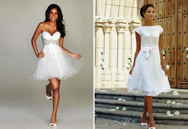 белые вечерние короткие платья