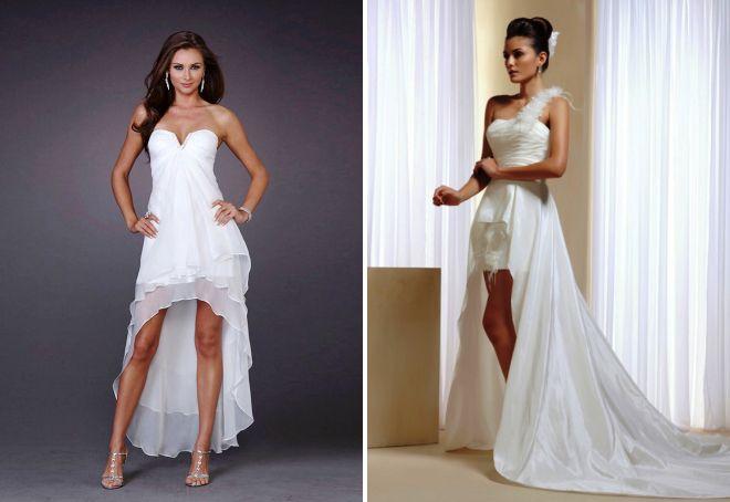 белое короткое платье со шлейфом