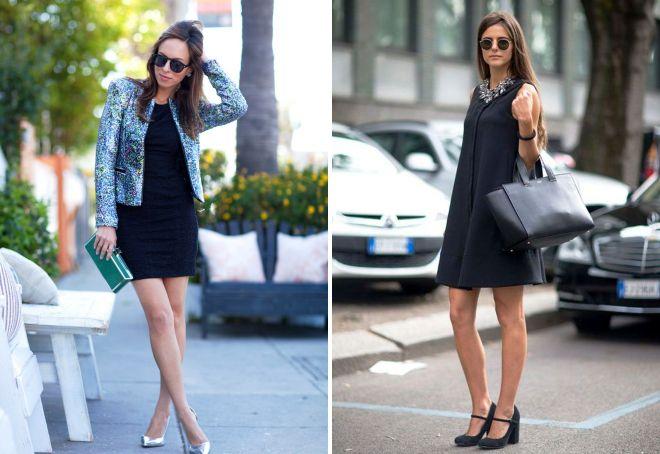 с чем носить черное короткое платье