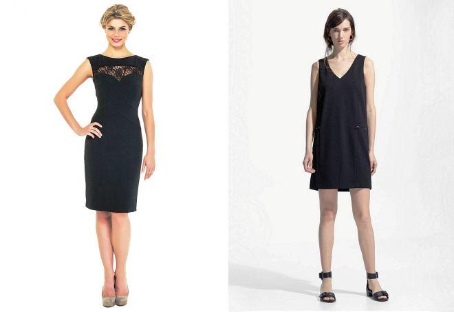 черное короткое платье без рукавов