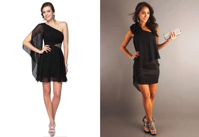 черное шифоновое короткое платье