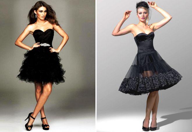 черное пышное короткое платье