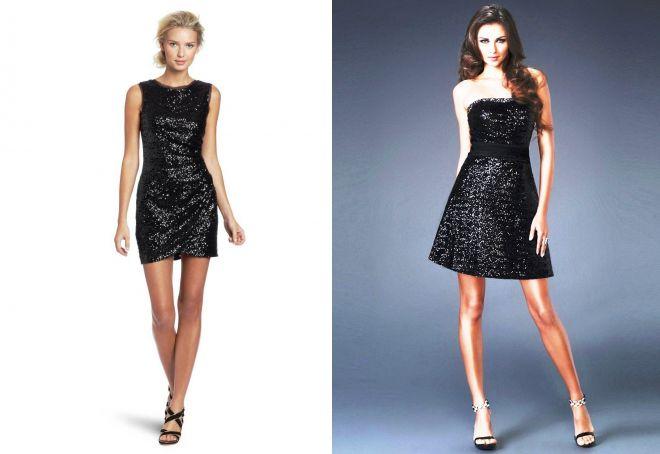 черное блестящее короткое платье