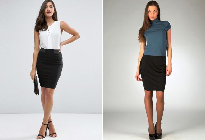 короткие черные юбки