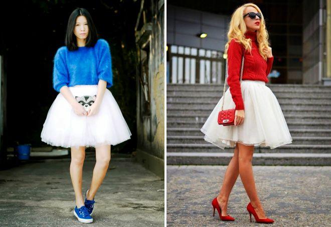 белая короткая юбка