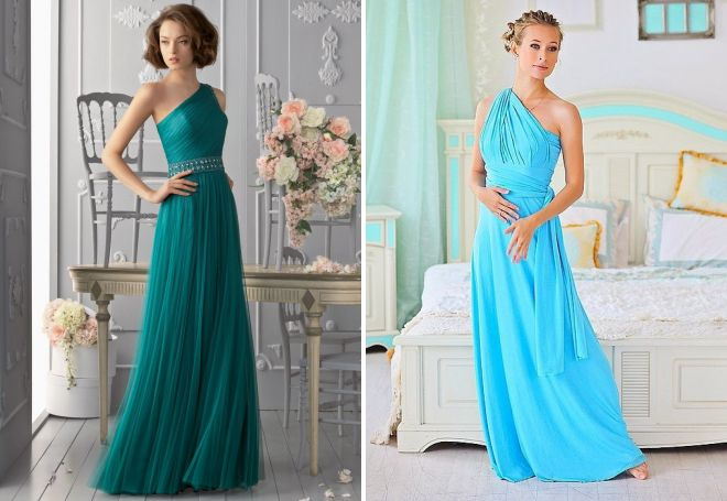 красивое бирюзовое платье
