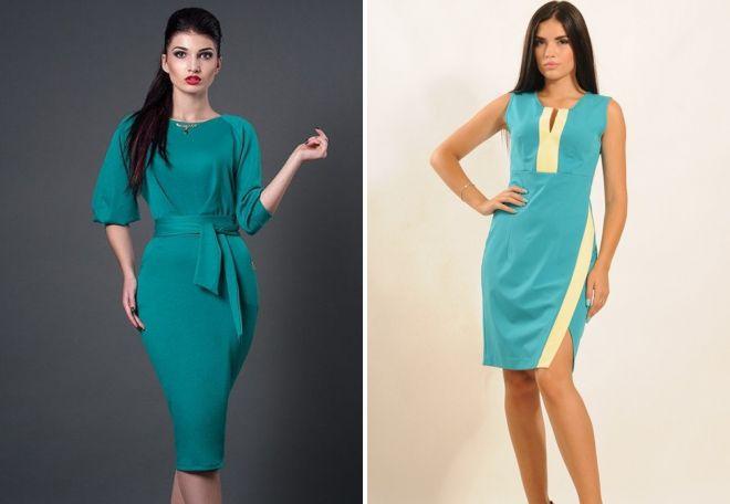 модные платья бирюзового цвета 2017