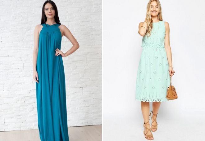 бирюзовое платье на лето