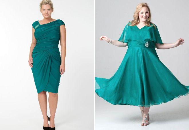 бирюзовые платья для полных