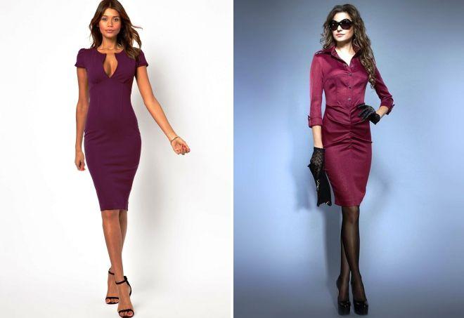 бордовое платье футляр