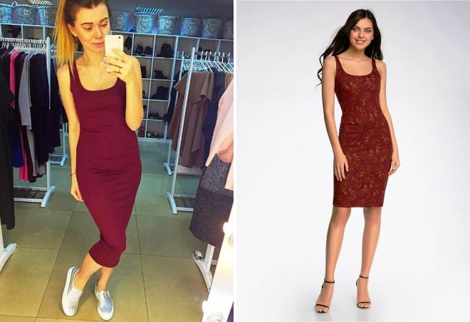 бордовое платье майка