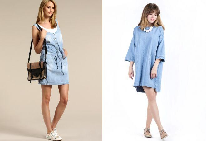 прямое голубое платье