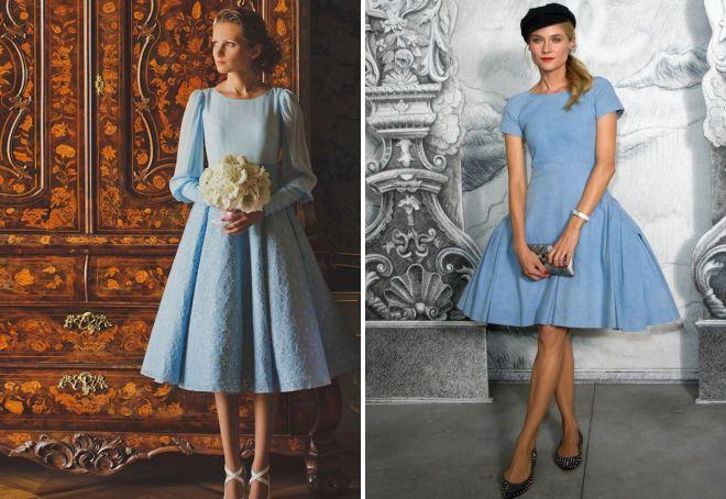 модное голубое платье 2017