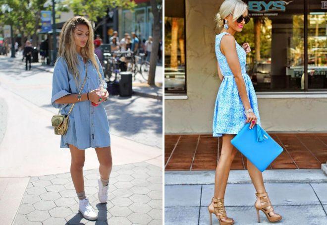 модные голубые платья
