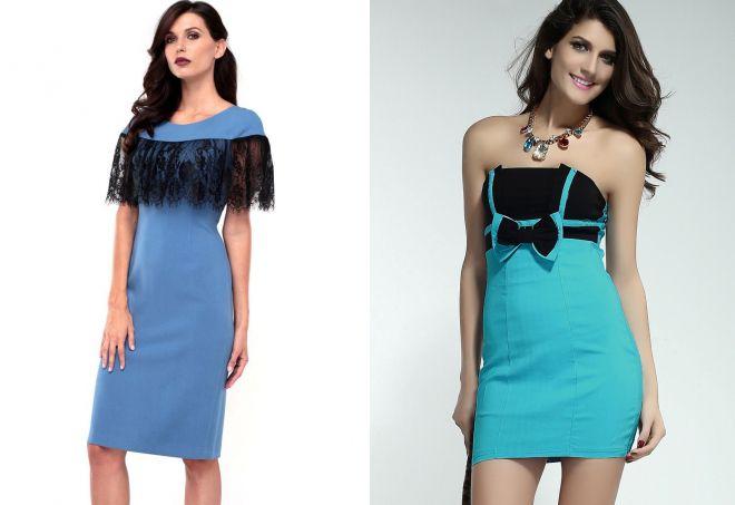 голубые женские платья