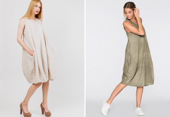 платья-балахоны из льна