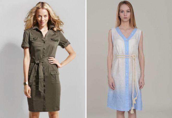 платье-халат из льна
