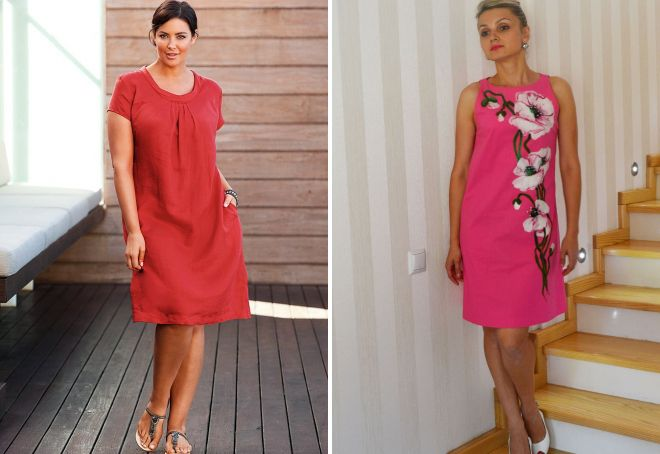 платья из цветного льна