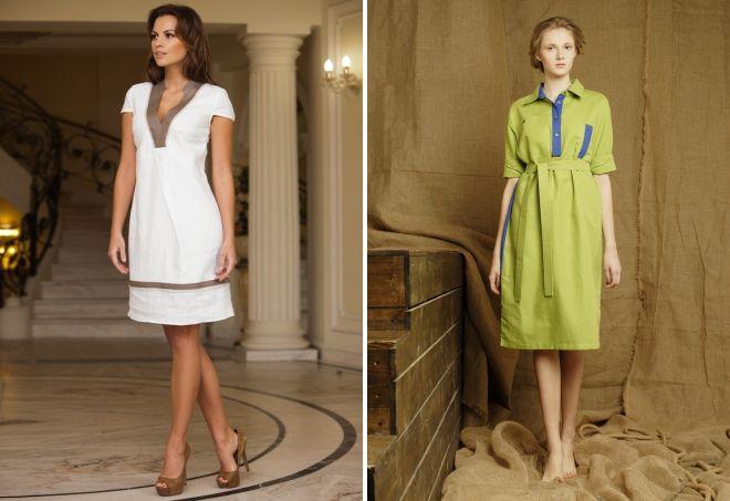 модные платья из льна 2017