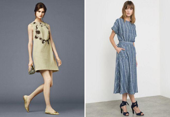 платья из льна фасоны