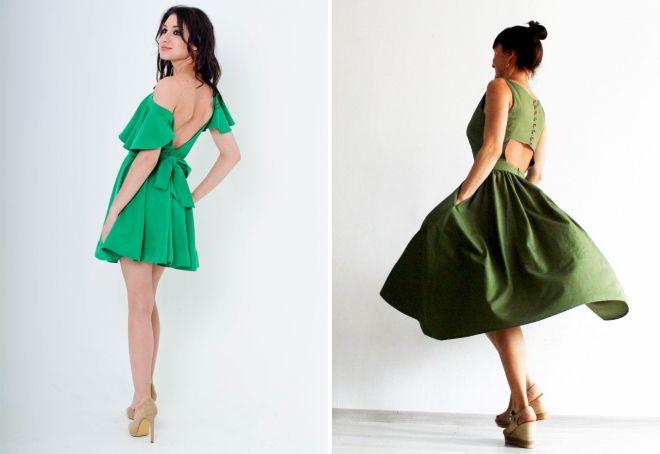 зеленое платье с открытой спиной