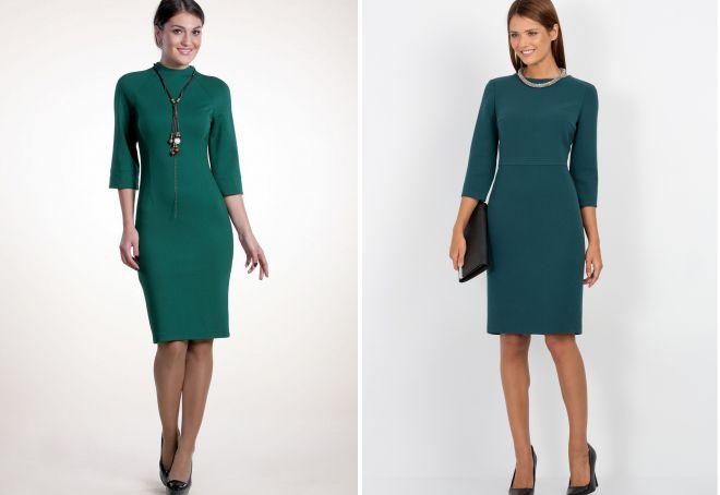 платье-футляр зеленого цвета
