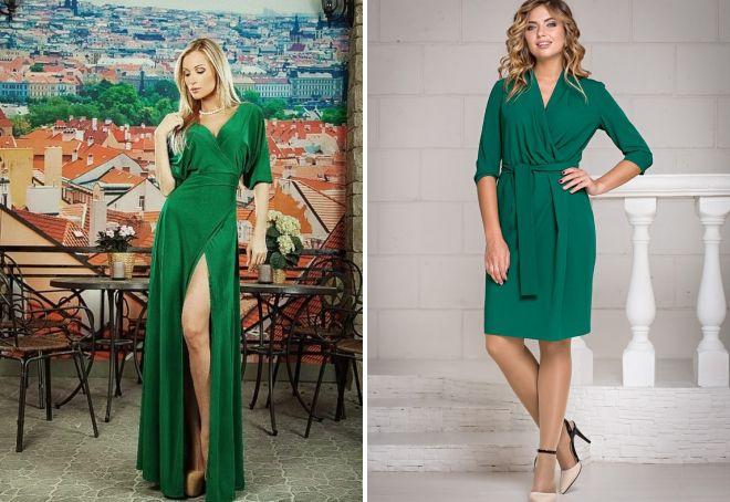 зеленое платье-халат