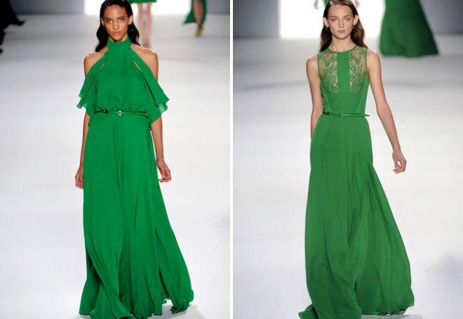 длинное зеленое платье