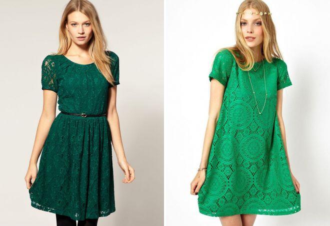 зеленое платье с кружевом