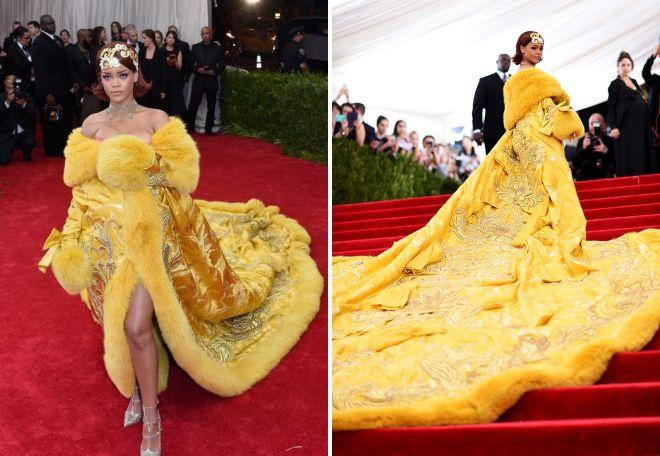 Рианна в длинном желтом платье