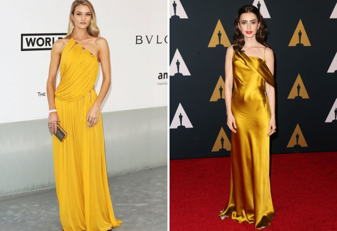Рози Хантингтон-Уайтли, Лилли Коллинз в желтом платье
