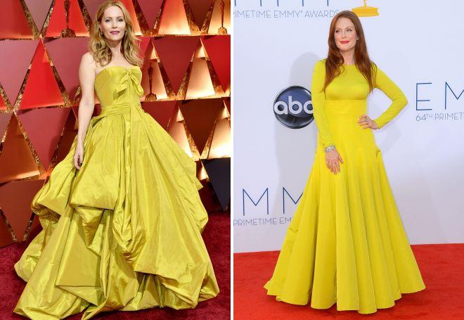 Лесли Манн и Джулианна Мур в длинном желтом платье