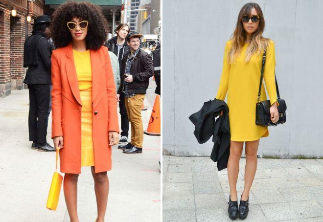 ярко желтое платье