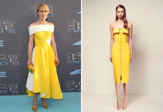 желтые коктейльные платья