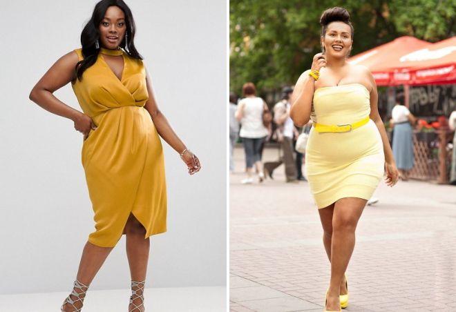желтое платье для полных