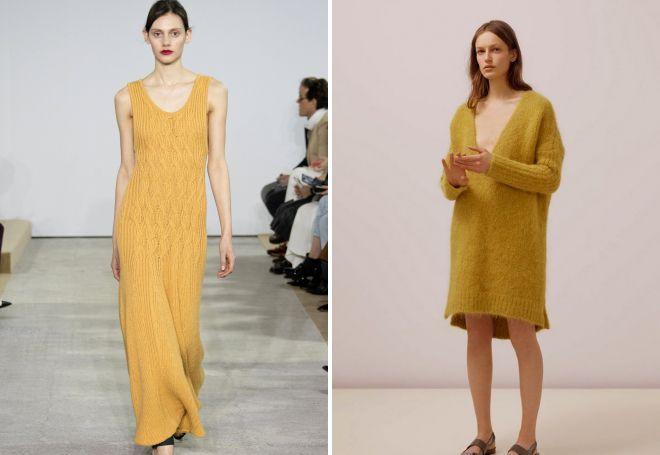 вязаное желтое платье