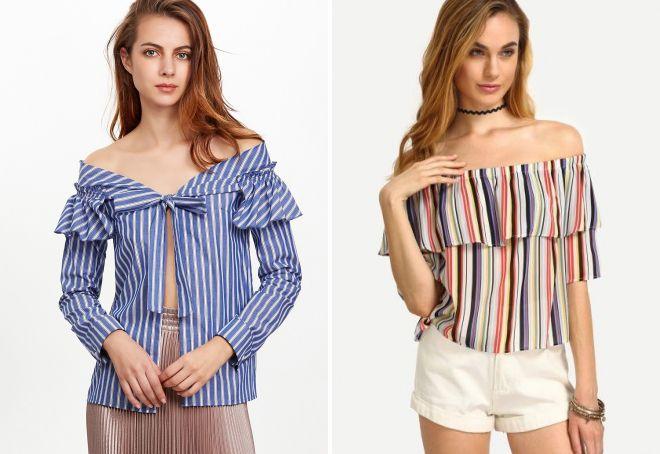 полосатая блузка с воланом на плечах