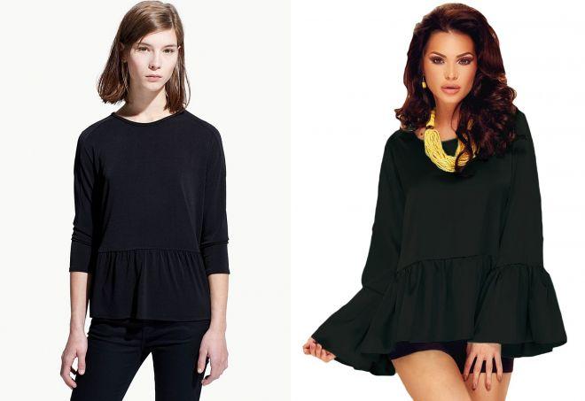 черная блузка с воланами