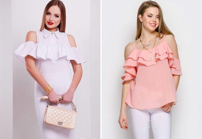 блузка с открытыми плечами и воланами