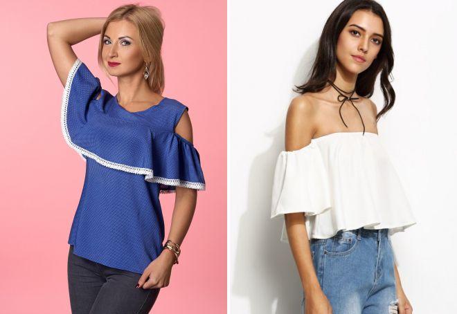 летняя блузка с воланом