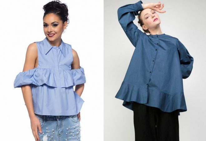 модные блузки с воланами 2017