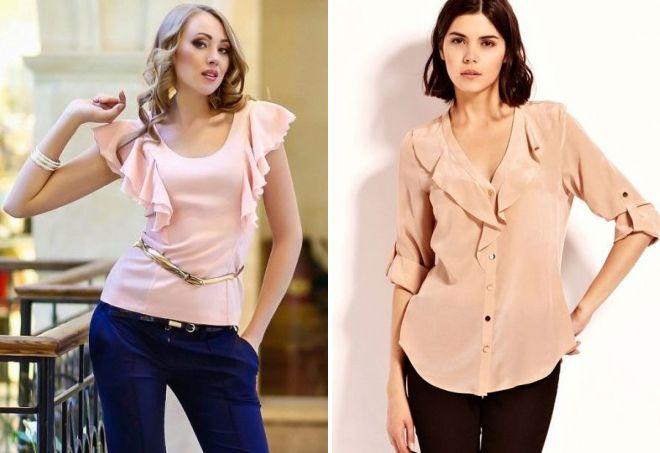 легкая блузка с воланом