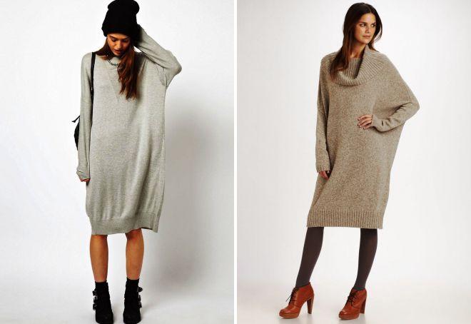 eb937d8c28d Модное женское платье-свитер – белое