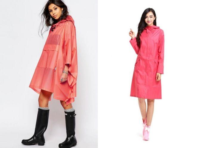розовый женский дождевик